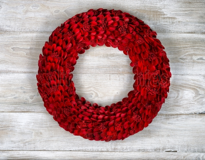 Wooden Red Wreath on White aged boards