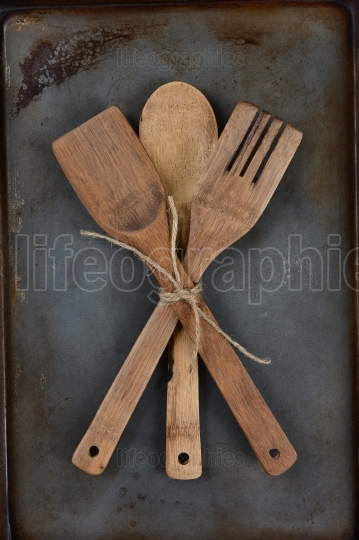 Wooden Utensils Tied With Twine