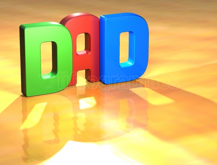 Word Dad on yellow background