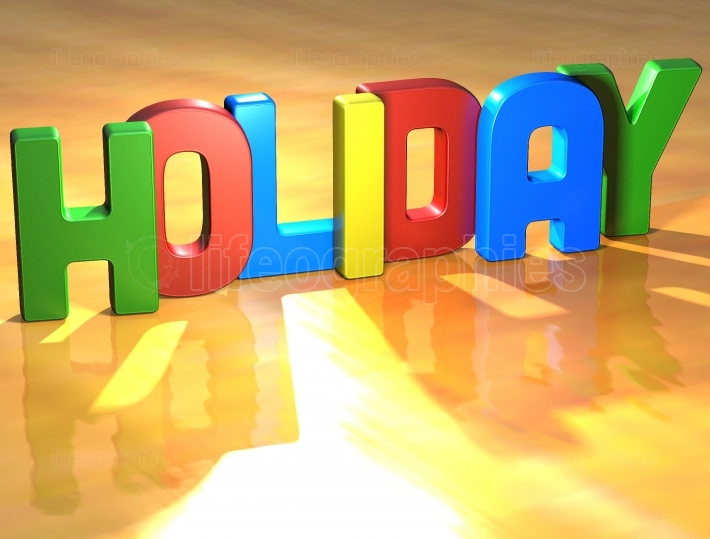 Word Holiday on yellow background
