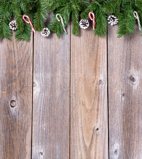 Xmas holiday wooden background with fir branches and candy canes