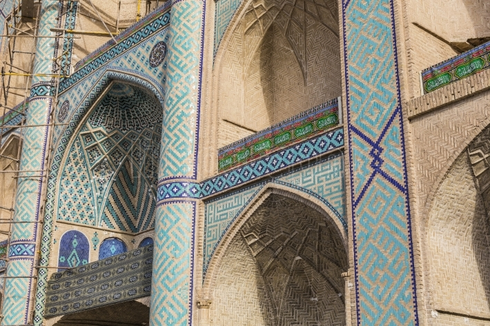 YAZD, IRAN - OCTOBER 07, 2016: Ornaments and details on the faca