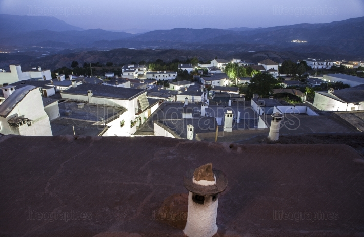 Yegen at night in the Alpujarras mountains, Granada, Spain