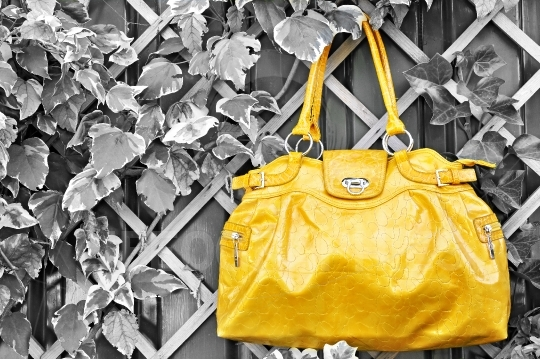 Yellow handbag isolated on natural background