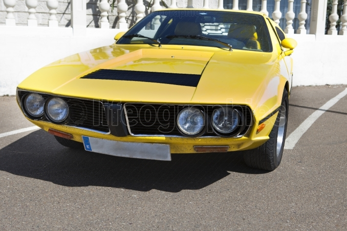 Yellow seventies sports car