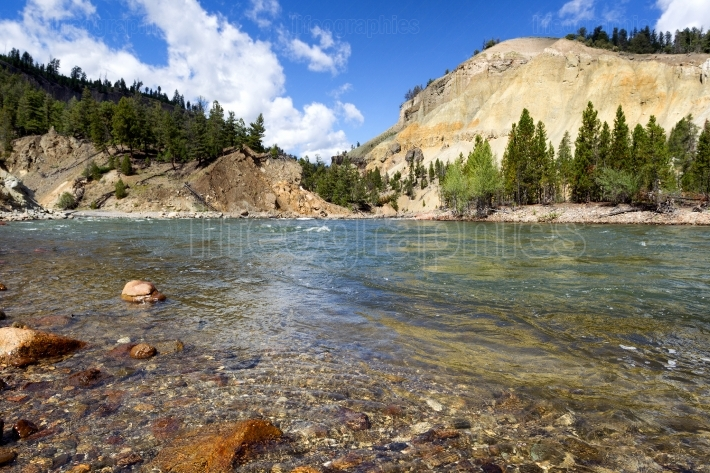 Yellowstone River running through Canyon during summer day