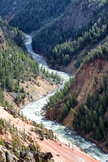 Yellowstone River winding through its canyon on a late summer da