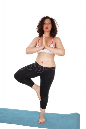Yoga woman standing on floor.