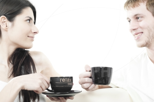 Young couple sharing coffee time