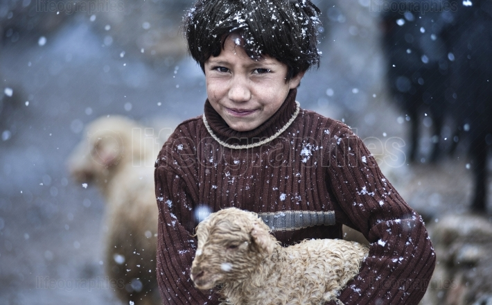 Young girl sitting in a snow with a baby sheep in her hands