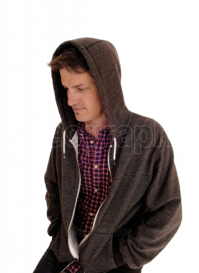 Young man in hoody.
