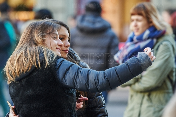 Young people taking a selfie