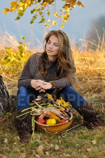 Young smiling caucasian woman outdoor in autumn