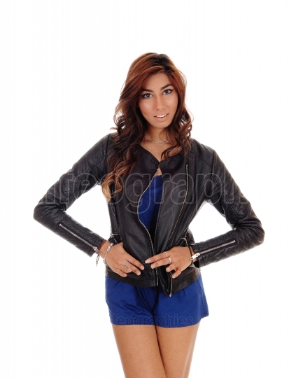 Young woman in a leather jacket.