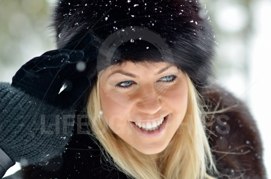 Young woman portrait outdoor in winter