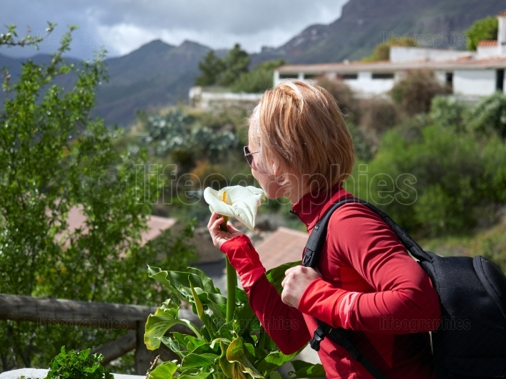 Young woman visiting old mountain village in Gran Canaria, Spain