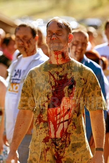 Zombie Waits For Chance To Terrorize Runners In 5K Race