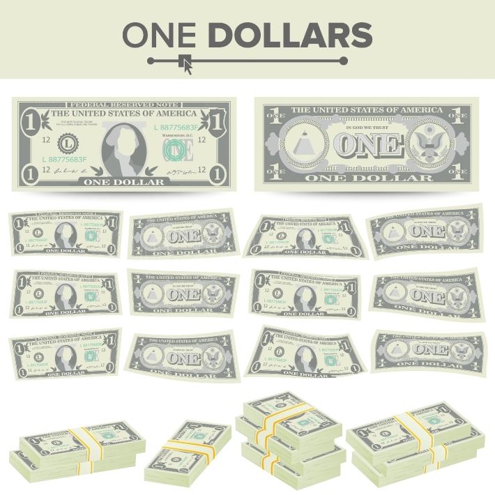 1 Dollar Banknote Vector  Cartoon US Currency  Two Sides Of One American Money Bill Isolated Illustration  Cash Symbol 1 Dollar Stacks