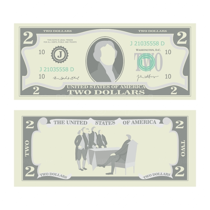 2 Dollars Banknote Vector  Cartoon