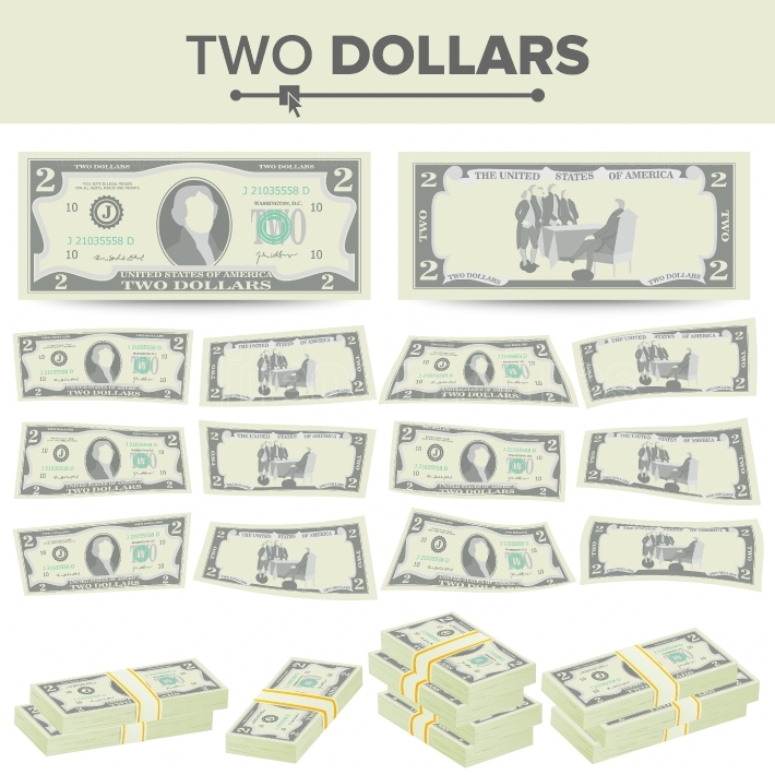 2 Dollars Banknote Vector  Cartoon US Currency  Two Sides Of Two American Money Bill Isolated Illustration  Cash Symbol 2 Dollars Stacks