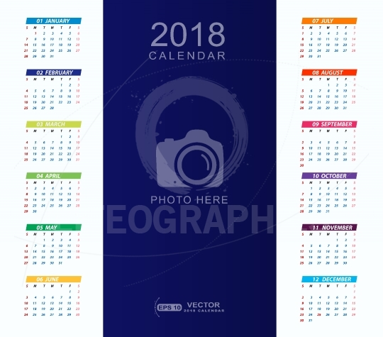 2018 Calendar background with place for photo