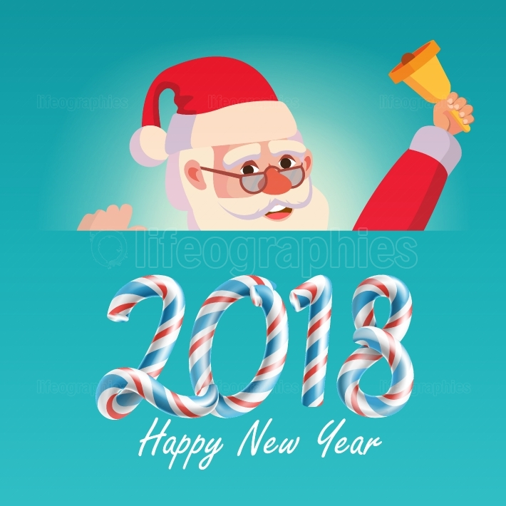 2018 Merry Christmas And Happy New Year Greeting Card With Santa Claus Vector  Holidays Cartoon Illustration