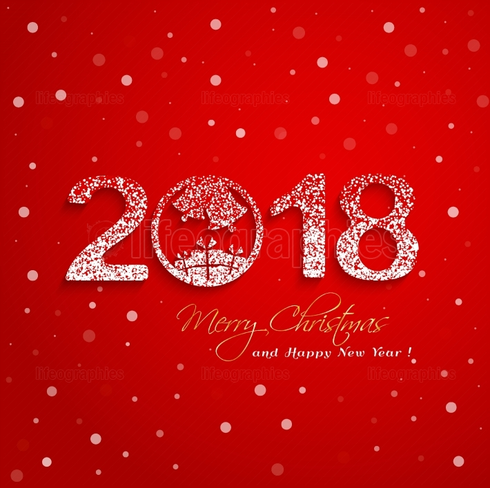 2018 New Year with snow effect on red background greeting card