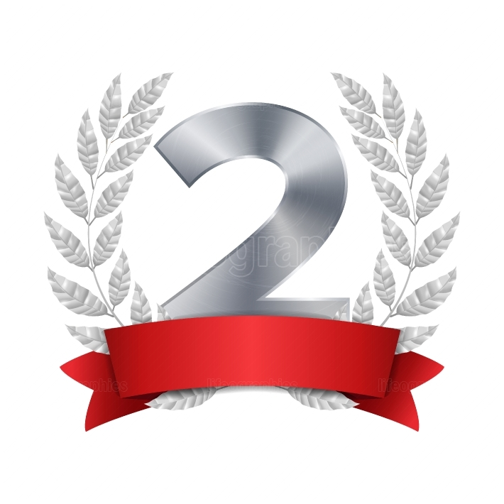 2nd Trophy Award Vector  Second Silver Placement Achievement  Figure 2 Two In A Realistic Silver Laurel Wreath  Red Ribbon  Isolated Illustration