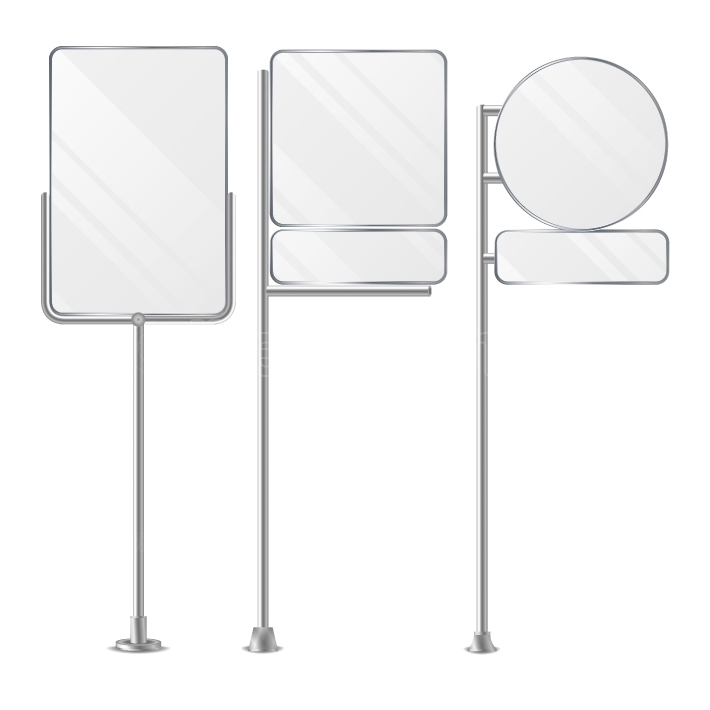 3D Blank Boards On Poles For Placing Price And Business Advertising  Outdoor Empty Holder Stands Set  Isolated On White Background  Vector Illustration