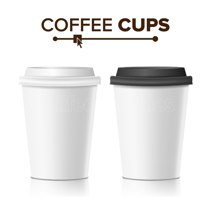 3d Coffee Paper Cup Vector  Collection 3d Coffee Cup Mockup  Isolated Illustration