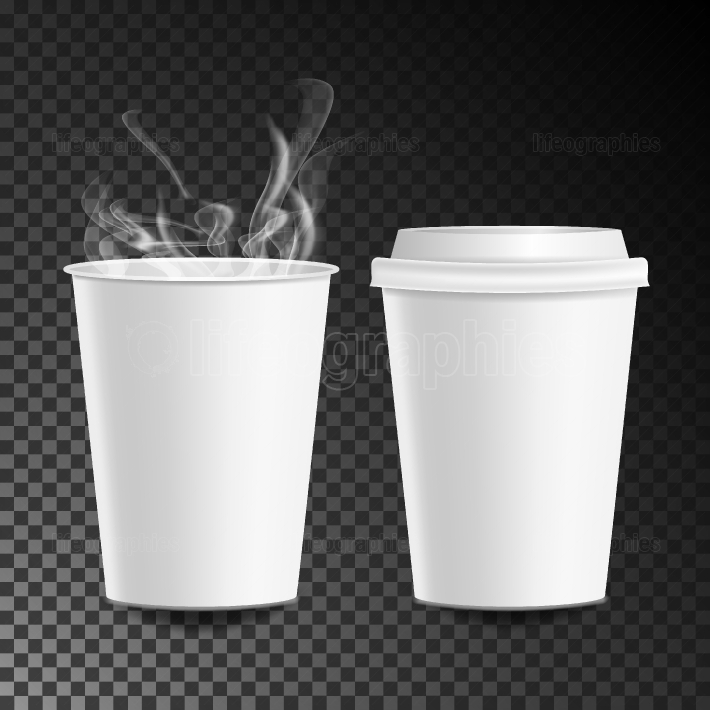 3d Coffee Paper Cup Vector  Hot Drink  Collection 3d Coffee Cup Mockup  Isolated On Transparent Background Illustration