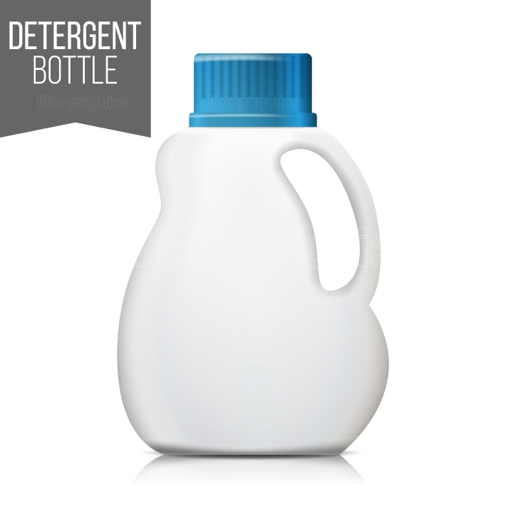 3d Detergent Bottle Mock Up Vector  Blank Plastic Container Bottle For Laundry Detergent  Isolated Illustration