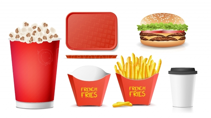 3D Fast Food Vector  Tasty Burger, Hamburger, Fries, Soda, Coffee, Paper Cup, Tray Salver, Popcorn  Isolated Illustration