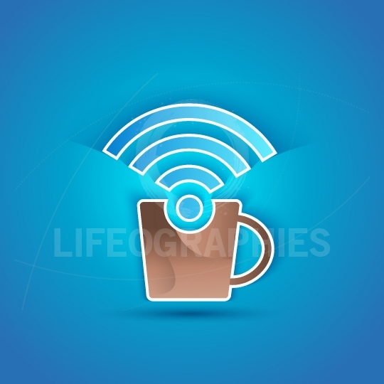 3d icon paper Internet Cafe with shadow effect on blue background