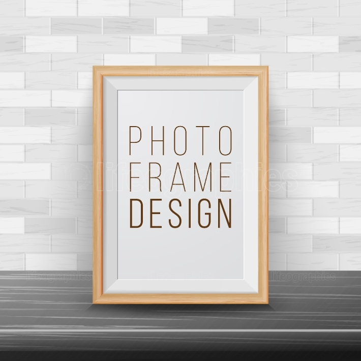 3d Photo Frame Vector  Rectangular Frame Template  Good For Posters, Presentations, Exhibition  Brick Wall Background  Trendy Interior Illustration