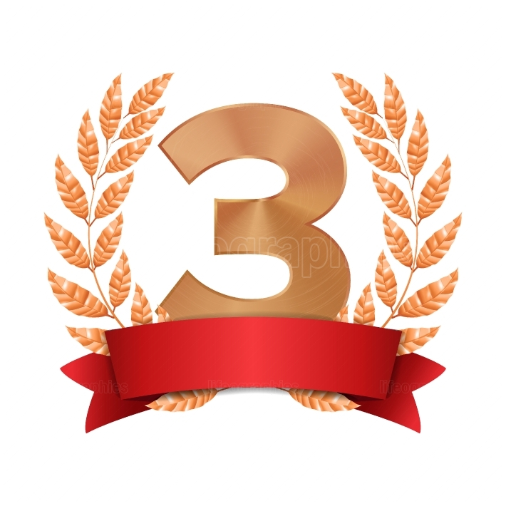 3rd Trophy Award Vector  Third Bronze Placement Achievement  Figure 3 Three In A Realistic Bronze Laurel Wreath  Red Ribbon  Isolated Illustration