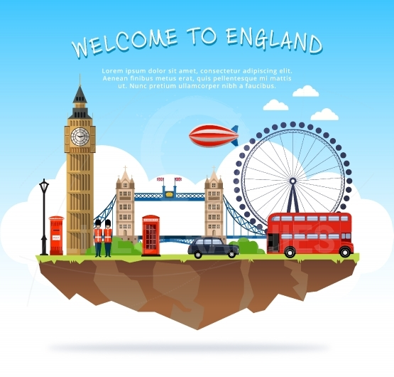 A Luxury England vector travel destinations icon set.