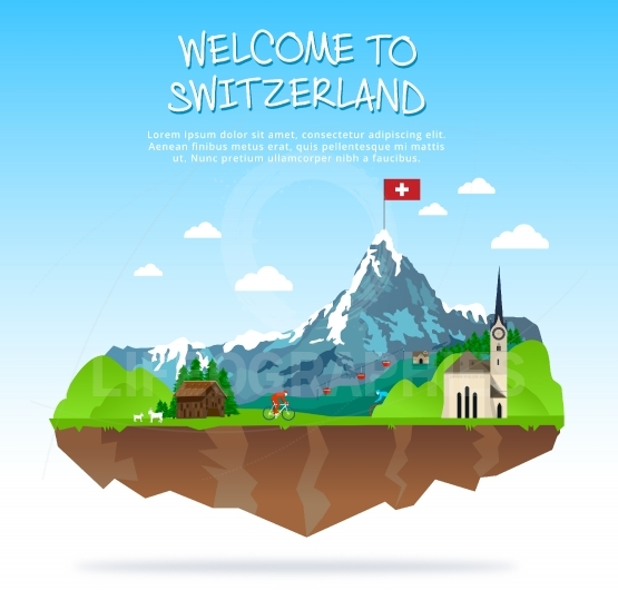 A Luxury Switzerland illustration travel destination