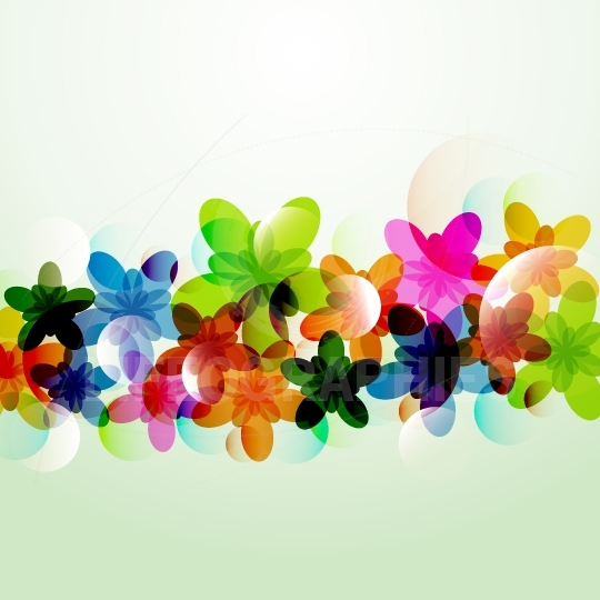 Abstract colorful background flowers shapes