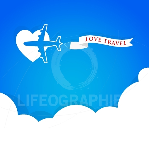 Airplane with announcement banner and blue sky, love travel background concept