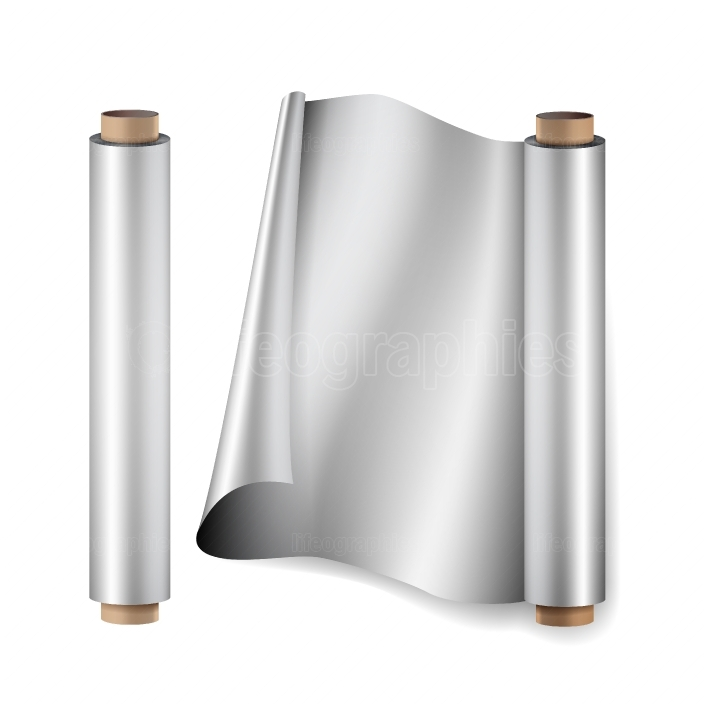 Aluminium Foil Roll Vector  Close Up Top View  Opened And Closed  Realistic Illustration Isolated On White