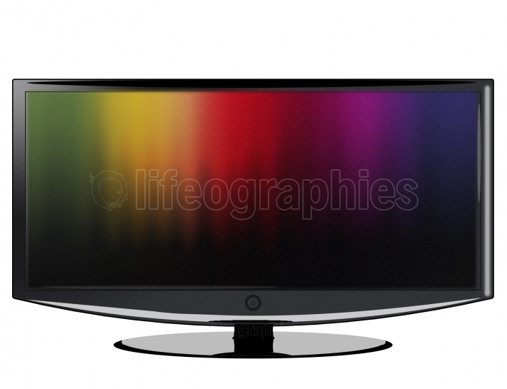An illustration of a widescreen black TV with a darks color background