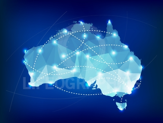 Australia country map polygonal with spot lights places