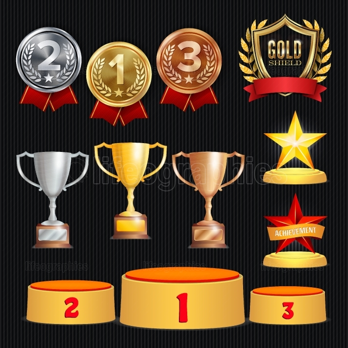 Award Trophies Vector Set  Achievement For 1st, 2nd, 3rd Place Ranks  Ceremony Placement Podium  Golden, Silver, Bronze Achievement  Championship Stars  Laurel Wreath With Gold Shield