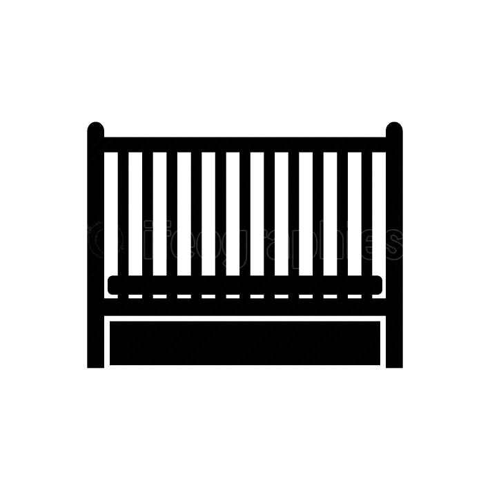 Baby bed black color icon