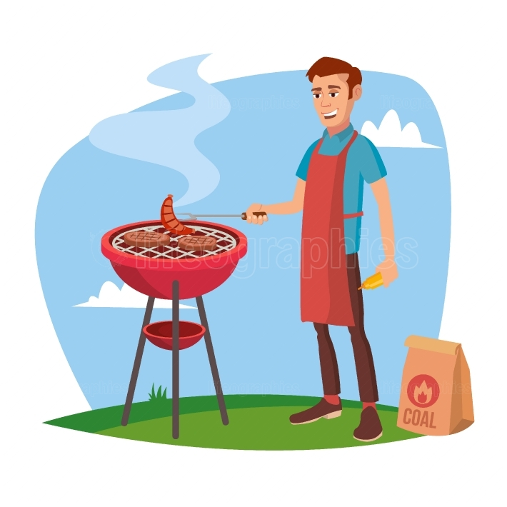 BBQ Cooking Vector  Classic American Smiling Man Barbecuing  Isolated On White Cartoon Character Illustration