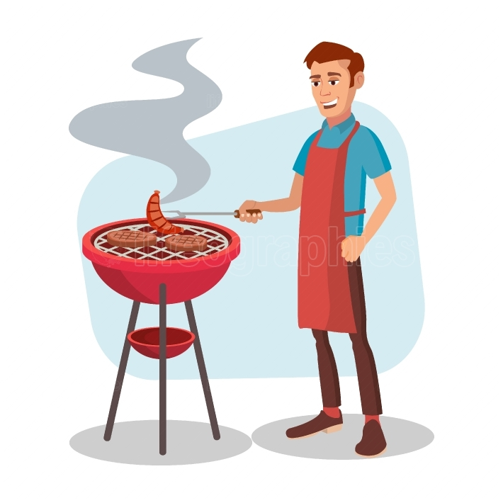 BBQ Cooking Vector  Man Cook Grill Meat On Bbq  Isolated Flat Cartoon Character Illustration