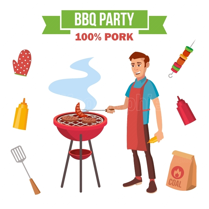 BBQ Grill Meat Cooking Vector  Man Cooking Meat  Outdoor Rest  Cartoon Character Illustration
