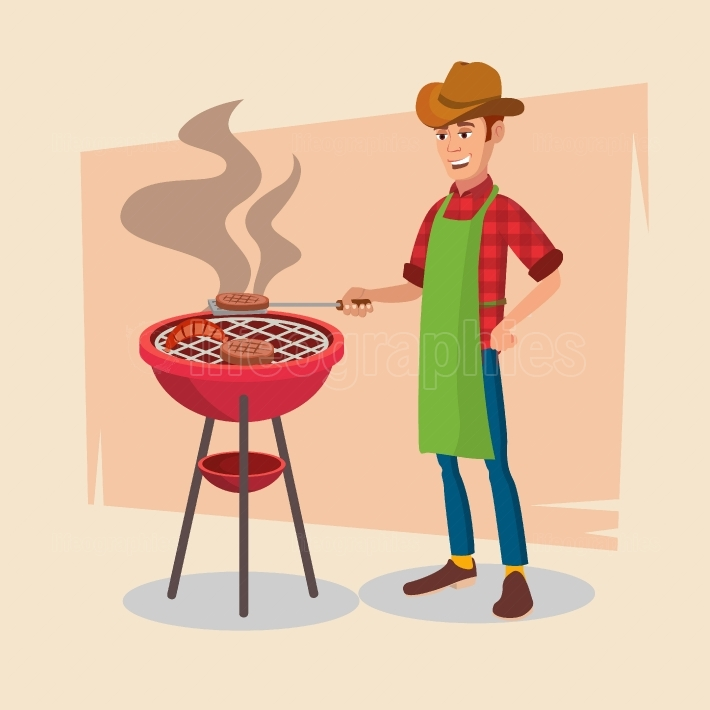 BBQ Party Vector  Barbecue Tools, Grill, Forks With Happy Man  Flat Cartoon Illustration