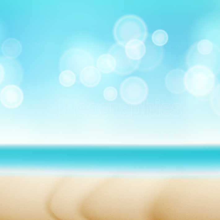 Beach Summer Seaside Vector Background  Bokeh Sky Light Wave  Blue Sky With Copy Space  Tourism Trip Illustration